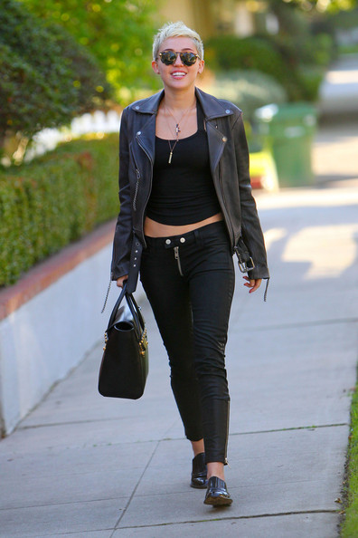 Miley Cyrus - Miley Cyrus in a Leather Jacket