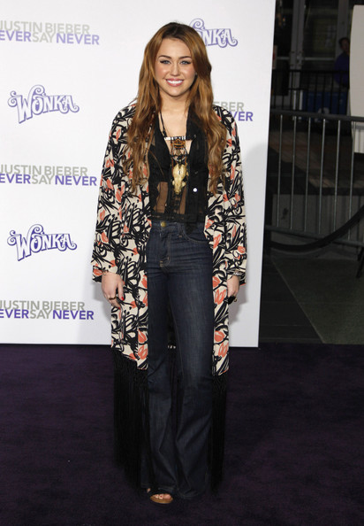 "Miley Cyrus Miley Cyrus at the Los Angeles premiere of ""Justin Bieber: Never Say Never"" held at the Nokia Theatre L.A. Live, Los Angeles."