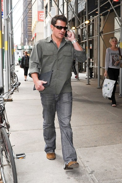Nick Lachey on the Phone in NYC