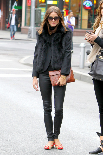 "Olivia Palermo Olivia Palermo, star of ""The City"", wears a fur vest while having lunch with a friend at Sant Ambroeus in NYC. After lunch, the pair walked arm in arm down the street to a waiting cab."
