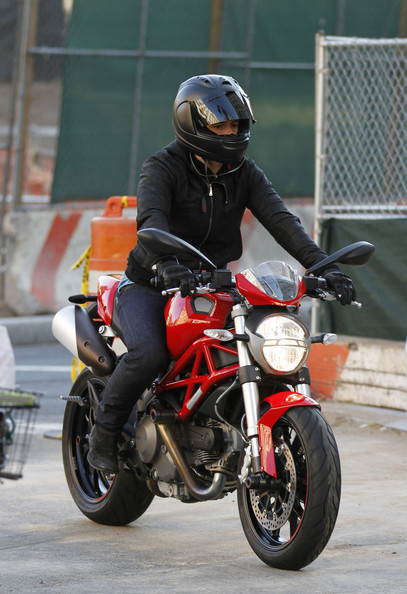 Orlando Bloom Actor Orlando Bloom is spotted riding around NYC on a red Ducati motorcycle.