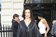 Bianca Jagger attends London Fashion Week runway shows at London's Somerset House.