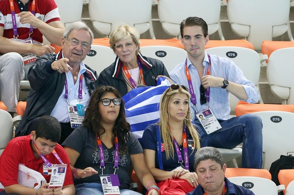 King Constantine of Greece, Queen Anne-Marie of Greece and Prince Philippos of Greece watch the swimming competition at the Aquatics Center of the Olympic Park. Summer Olympic Games 2012 in London.