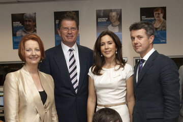 Mary Princess Mary and Prince Frederik of Denmark are seen with Australian Prime Minister Julia Gillard in Melbourne