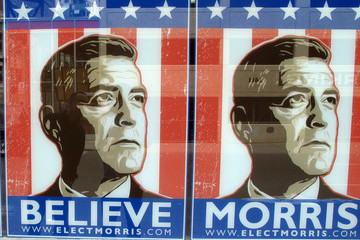 "Mike Morris Prop posters for George Clooney's character Mike Morris' presidential candidacy are seen around the Downtown Detroit set of Clooney's upcoming film ""The Ides of March"""
