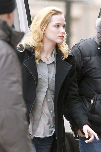 "Rachel Evan Wood arriving at the film set  of ""The Ides of March"" in downtown Detroit. Rachel stars alongside George Clooney and Ryan Gosling in the political satire, also directed by Clooney."