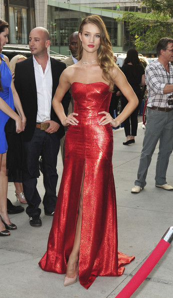 "Red Hot! Rosie Huntington-Whiteley sizzles in a metallic red gown as she attends the afterparty for ""Transformers 3 - Dark of Moon"" at the Lincoln Centre in New York."