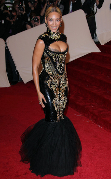 "Beyonce at the annual Costume Institute Gala, celebrating the exhibition at the Met of 'Alexander McQueen: Savage Beauty"", held at the Metropolitan Museum Of Art on 5th Avenue in Manhattan."