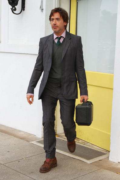 Robert Downey Jr seen leaving the Byron and