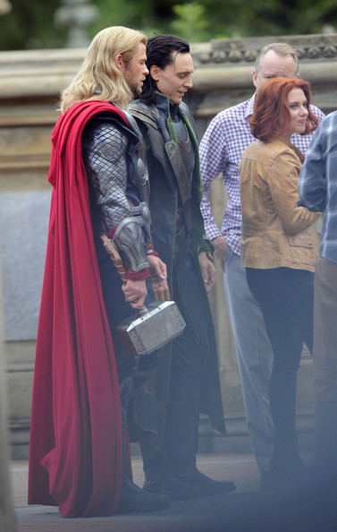"""Stars on the Set of """"The Avengers"""" in NYC"""