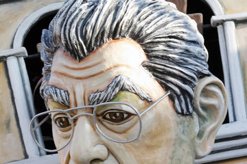 Umberto Bossi Satirical Italian political carnival float mocks international politicians
