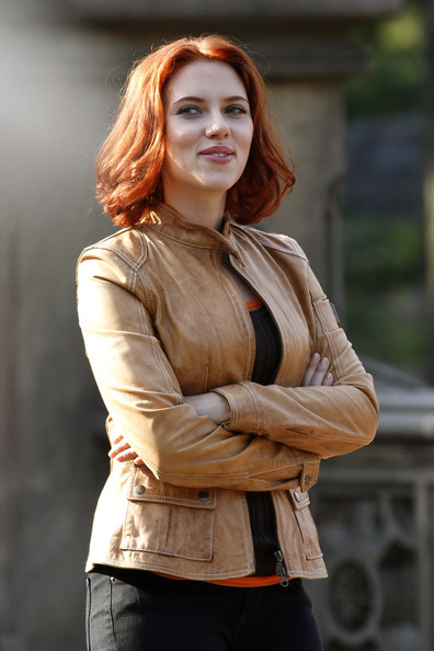 "Scarlett Johansson sports red hair on the set of ""The Avengers"" in New York's Central Park."