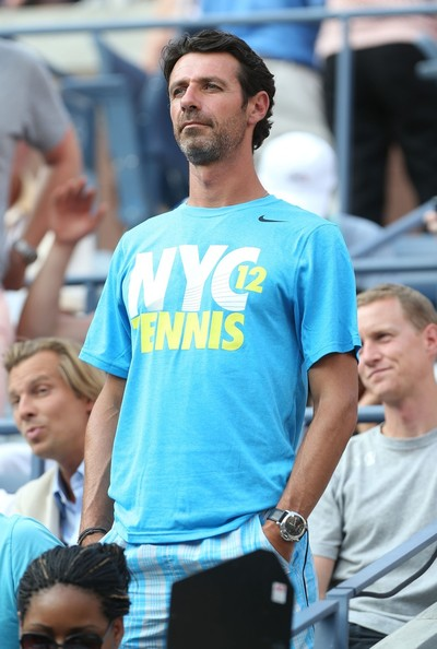 Coach of Serena Williams, Patrick Mouratoglou watches as she wins the second round during the US Open held at the USTA Billie Jean King National Tennis Centre in Flushing Meadows, Queens..