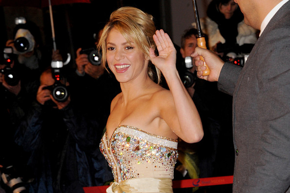 Shakira A shiny Shakira is seen on the red carpet for the 2012 NRJ Music Awards at the Palais Des Festivals in Cannes, France.