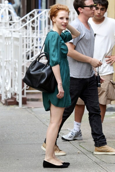 """Short haired Jessica Chastain rocks an aqua colored dress as she spends a full day filming scenes for her new film """"The Disappearance of Eleanor Rigby"""""""