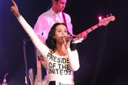 Singer Katy Perry performs at a campaign rally for U.S. President Barack Obama at Doolittle Park in Las Vegas.