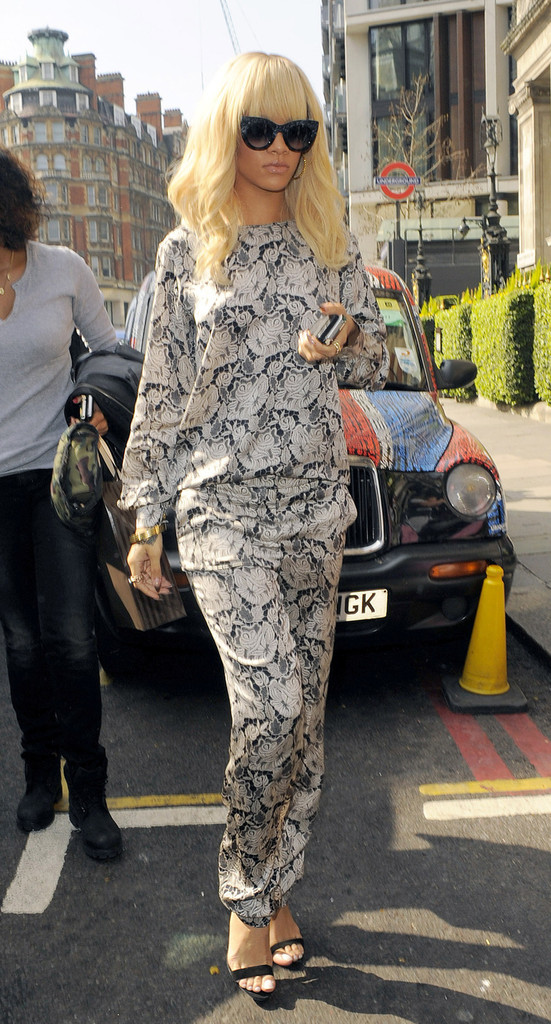 Singer Rihanna is seen arriving at a hotel in London.