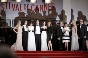 Actresses Claire Julien, Taissa Fariga and Katie Chang, actor Israel Broussard, actress Emma Watson and director Sophia Coppola attend 'The Bling Ring' premiere during 66th Cannes Film Festival 2013, held at the Palais des Festivals at the Croisette Avenue in Cannes. French film-maker and Cannes favourite Francois Ozon's 'Jeune et Jolie' was the opening film of day two of the festival. The film, which is in competition, stars Marine Vacth as a 17-year-old who experiences her sexual awakening and her search for her identity over the course of four seasons. Seduced by the easy money and new experiences, she becomes a teenage prostitute, working behind the backs of her middle-class Parisian parents. The next was 'The Bling Ring', the new film from Sofia Coppola, based on the true story of a gang of L.A. teens who begin burgling the houses of celebrities like Lindsay Lohan and Paris Hilton.