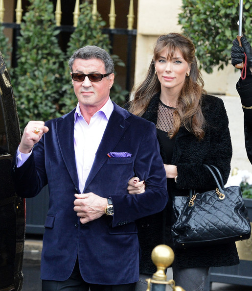 Stylish Sylvester Stallone Leaves His Paris Hotel