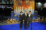 Jane Li, Ang Lee and Mason Lee attend the premiere of 'Life Of Pi' held at the Empire Cinema, Leicester Square in London, England.