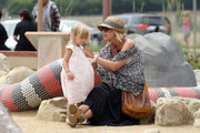 Tori Spelling shows off her baby bump as she and husband Dean McDermott spend the afternoon at the park with their children Liam and Stella. Spelling could be seen visiting the Malibu Farmers Market before she headed to Malibu Legacy Park to play with her kids.
