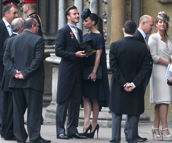 David And Victoria Beckham Arrive At Westminster Abbey For The Royal Wedding