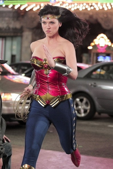 Wonder Woman! Adrianne Palicki takes charge of the late night streets of Hollywood! The actress was shooting night scenes for the pilot of the NBC reboot of the popular 70's superheroine show.