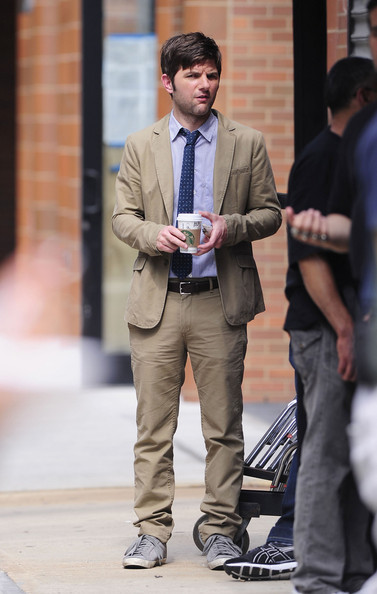 """Parks and Recreation"" star Adam Scott is spotted on set of the new movie ""The Bachelorette"" in New York."