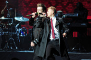 Nicky Byrne and Mark Feehily of Westlife in concert at the 2011 Hampton Court Palance Festival in London.