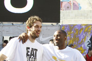 The Los Angeles Lakers participate in the House of Hoops basketball event in Barcelona.