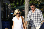 A heavily pregnant Tori Spelling and her hubbie Dean McDermott take their kids Liam and Stella to a playground in Cross Creek, Malibu. The family were joined by McDermott's son from a previous marriage, Jack. Tori is due to give birth to their third child in October.
