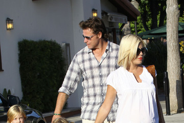 Liam Tori Spelling and Family at the Playground