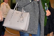 Lily Collins Leather Tote