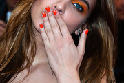 Barbara Palvin Bright Nail Polish