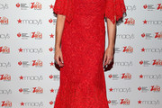 Lucy Lawless Off-the-Shoulder Dress