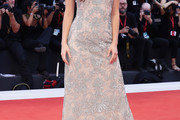 Barbara Palvin Embroidered Dress